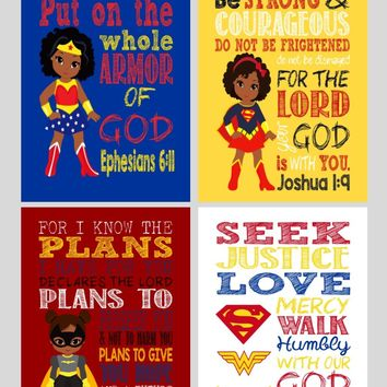 African American Superhero Set of 4 - Christian Wall Art Print - Supergirl, Batgirl, Wonder Woman - Bible Verse Nursery, Playroom or Kids Room Decor
