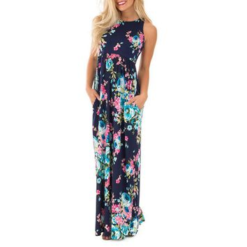 O-neck Summer Pleated Maxi Dress