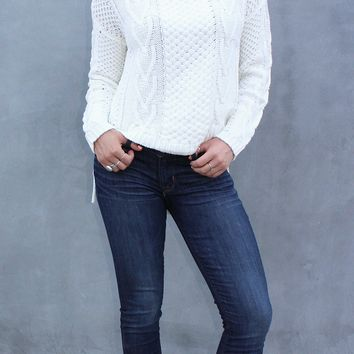 High Low Cable Knit Sweater