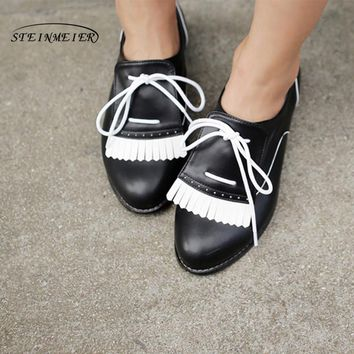 Women genuine leather flat shoes handmade white black brogue lace up comfortable sneakers oxford shoes for women shoes