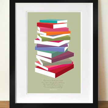 Dr Seuss Poster Print, Colourful books pile, A3 giclée print