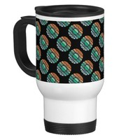 Coral and Teal Sun Print Coffee Cup