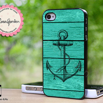 Mint Anchor on Wood iPhone 4 Case, iPhone 4s Case, iPhone Case, iPhone Hard Case, iPhone 4 Cover, iPhone 4s Cover