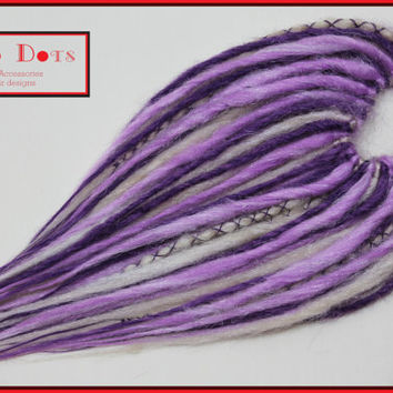 Lilac & Purple Synthetic Dread Falls with Braids, 20' Temporary Hair Extensions. Long Layered, Hair Piece, Headdress, Wig
