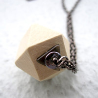 Geometric Pendant Necklace Wooden Cube Mens by pearlatplay on Etsy