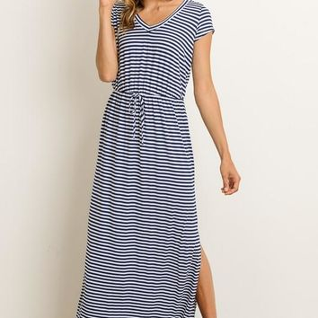 Cap Sleeve Striped Maxi Dress - Navy