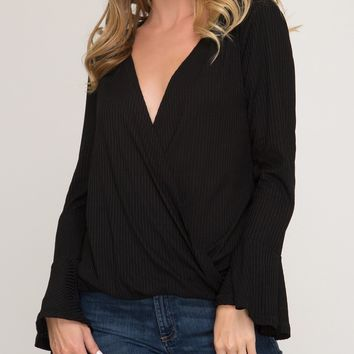 Tomi Ribbed Knit Wrap Top