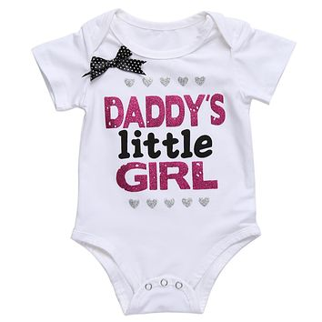 Girls Baby Clothes 2018 Summer Baby Cotton Romper Cute Daddy's Little Girl Letter Print Short Sleeve Children Clothing Tops