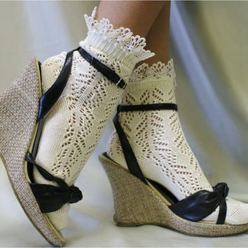 "Lace socks for heels Baby doll, 80""s inspired retro crochet lace socks lightweight, pretty for summer flats or heels catherine cole studio"