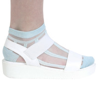 Baby Blue Striped Mesh Socks