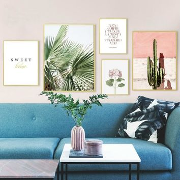 SURE LIFE Nordic Green Leaves Cactus Pink Flower Sweet Home Canvas Printings Wall Art Pictures Posters Prints Living Room Decor