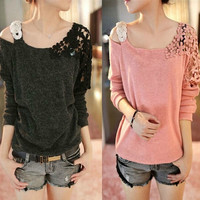 Korean Women Long Sleeve Floral Crochet Knit Splicing Casual Tops Sweater Jumper(One size) = 1958363972