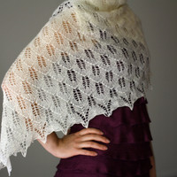 Knit lace shawl, wedding shawl, bridal shawl in cream white color (25 colors available)
