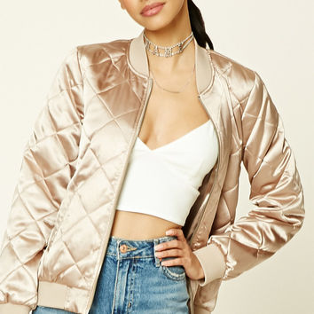 Satin Quilted Bomber Jacket