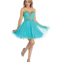 2013 Prom - Turquoise & Neon Green Chiffon Sweetheart Short Prom Dress - Unique Vintage - Cocktail, Pinup, Holiday & Prom Dresses.