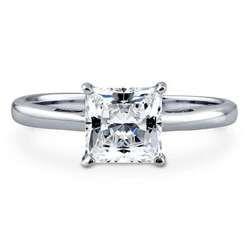 A Perfect 1.6CT Princess Cut Russian Lab Diamond Solitaire Engagement Ring