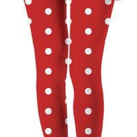Retro style polka dot leggings, red and white girls casual apparel vintage theme