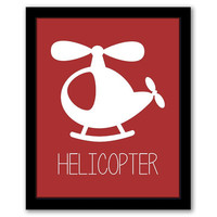 Helicopter Wall Art, Transportation, Toddler Decor, Nursery Art, Red Nursery, Kids Room, Boys Room, Childrens Art, INSTANT DOWNLOAD