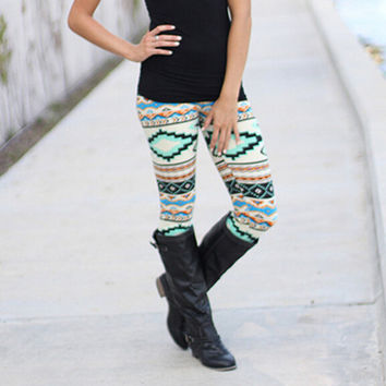 Boho Womens Elastic Pants Tight Pants Leggings Slim Leggings Gift-56