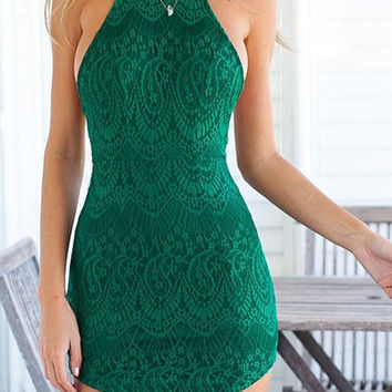 Green Backless Bodycon Lace Dress