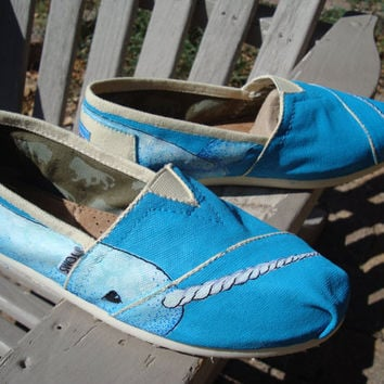 narwhal painted on TOMS shoes by ArtfulSoles on Etsy