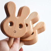 Cute Bunny Shape Rattle - Animal Shaped Wooden Rattle- Baby Rattle toy - Easter Bunny - Easter basket stuffer - New baby gift