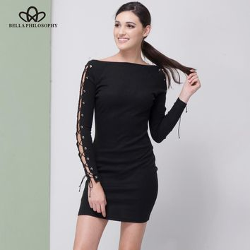Bella Philosophy 2018 women autumn winter long sleeve side lace-up Party Bandage knitting dress vestidos stretchy sexy slim