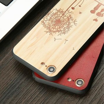 Woon Case For iphone 7 6 6s Plus Cover Cute 3D DIY Embossed Lover Boy Girl Dandelion Wooden Pattern Phone Cases Shell Capa Funda