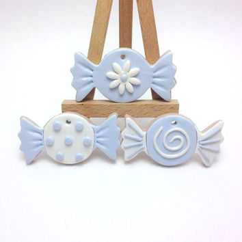 White and Blue Polymer Clay Candy, Clay Sweets, Christening Accessories, Baptism Decoration, Βάπτιση, Baby Boy Christening, Special Event