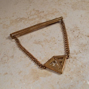 Brass Vintage Tie Clip Clasp Bar Cravat Holder with Chain Letter Initials EH Mid Century Mens Formal Hipster Jewelry Guys Gift