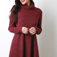 Turtleneck Shift Sweater Dress
