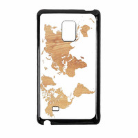 World Map On Wood Texture Print White Samsung Galaxy Note Edge Case