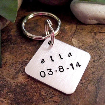 New Baby Keychain, Birthday Keychain, Personalized Keychain, Hand Stamped Key Chain, New Daddy Keychain, Baby Birth Keychain