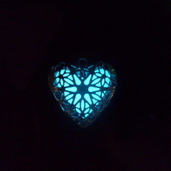 GLOW in the Dark Silver Heart Filigree Locket with Rhinestone Accent Necklace -- Green, Aqua, Blue, Yellow, White, Orange, Red, Pink, Purple