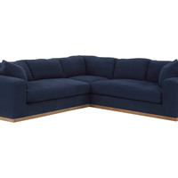 Francesca Linen Sectional, Indigo, Sectionals