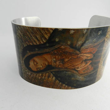 Lady Guadalupe Cuff Bracelet Sublimated Virgin Mary Religious Bracelet