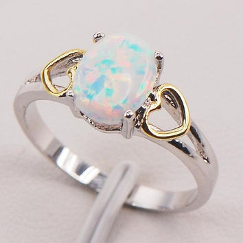 white fire opal 925 sterling silver plated fashion jewelry ring size 6 7 8 9 10 - Tiffany Wedding Ring