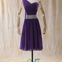 One-Shoulder Knee-Length Chiffon Cocktail Dress With Beading  Sashes