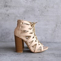 lace-up cutout stacked heel sandal