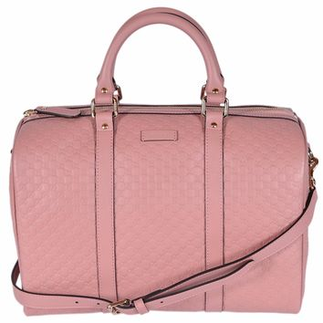 Gucci Women's Leather Micro GG Guccissima Convertible Boston Satchel (Soft Pink 449646)