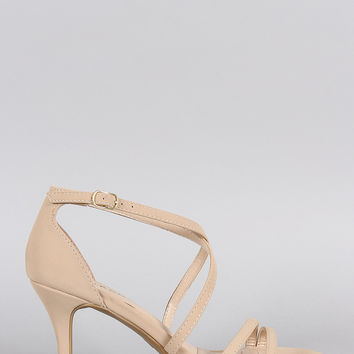 Bamboo Strappy Crisscross Open Toe Heel