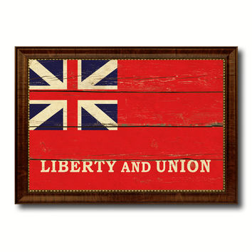 Liberty and Union Military Flag Vintage Canvas Print with Brown Picture Frame Gifts Ideas Home Decor Wall Art Decoration