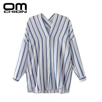 New Casual Striped V Neck Autumn Shirts Long Sleeve Back Cross Loose Women Blouses