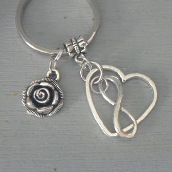Infinite Love with Rose Key Ring Infinity Open Heart Key Chain Eternal Love Friendship KeyChain Gift Mom Mother Wives