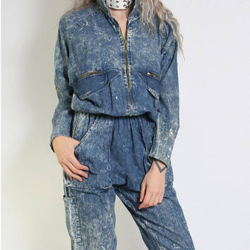 80s Acid Wash Denim Jumpsuit - Overalls - 80s Jumpsuit One Piece Onesuit - Coveralls - 80s Clothing - Baggy Slouchy Oversized - Blue Jean