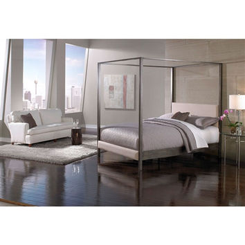 Queen size Modern Biege Upholstered Platform Bed with Headboard and Mid-Century Legs