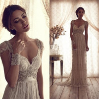 High Quality 2014 Vintage Wedding Dresses Sheer Anna Campbell Lace Bridal Gowns Lace Backless Church Wedding Custom CH-753