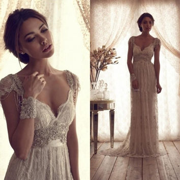 Lace Vintage Wedding Dress.High Quality 2014 Vintage Wedding Dresses Sheer Anna Campbell Lace Bridal Gowns Lace Backless Church Wedding Custom Ch 753 1932251140