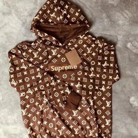 LV Supreme Coffee Hoodie Women Men Embroidered Long Sleeve Top Sweater