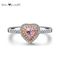 Handmade Jewelry!SHIPEI 2016 Fashion Pink Heart CZ Ring in Plated Platinum with AAA Imitation Diamond, Carat Total Weight 1.88